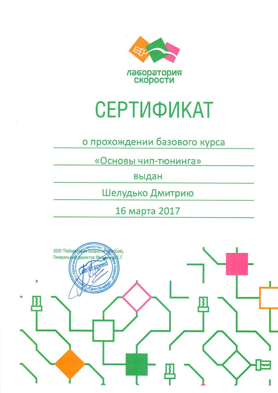 Сертификат о прохождении курсов от Лаборатории скорости 1